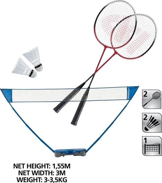 Badmintonset, 2 rakets, 2 shuttles en een badmintonnet